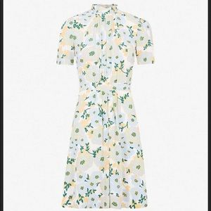 Sandro Aqua Ruffle Neck Floral Silk Dress